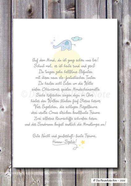 Gastgeschenke - Druck/Print: Mondelefanten - Gute Nacht - Kinder - ein Designerstück von DiePersoenlicheNote bei DaWanda