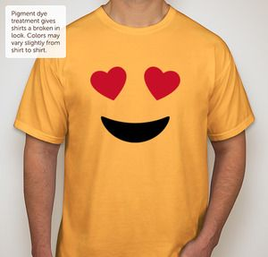 This heart eyes face emoji design is the perfect custom idea for diy emoji kids birthday party yellow t-shirts!