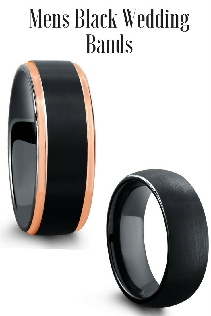 Mens black tungsten wedding rings. Modern mens wedding bands. Durable and comfortable. I love both of these mens wedding rings!