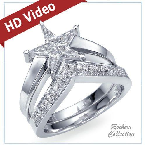 0 70 Ct Star Shaped Diamond Engagement Ring Wedding Band Matching