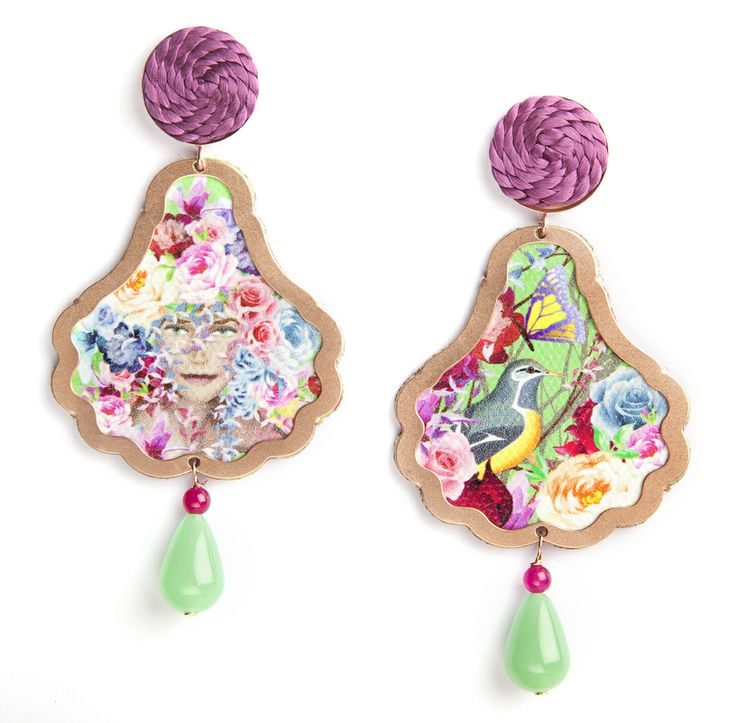 Seasonal allegory - Spring Earrings with brightly coloured flowers made of rose matte silver 925, cotton, passementerie and coloured jades. www.annaealex.com