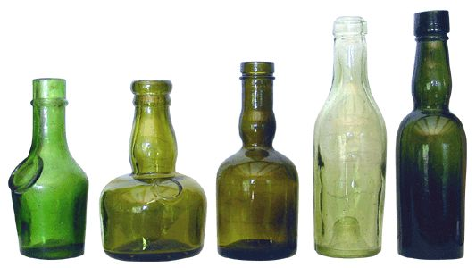 Antique Bottles - Miniatures A group of sample / travelling bottles containing alcoholic beverages. The airlines were 100 years late with their tot bottles!