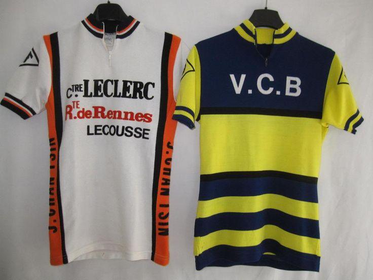 Lot-2-Maillot-cycliste-Vintage-Leclerc-Lecousse-Rennes-VCB-ancien-1
