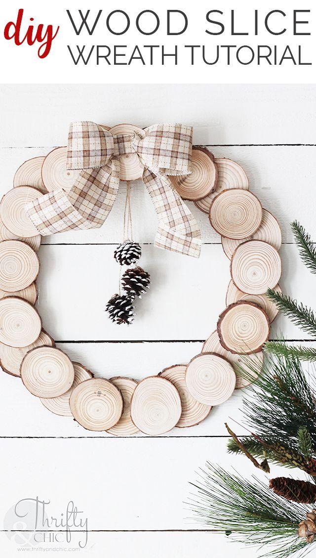 5 Minute Diy Wood Slice Wreath Tutorial Christmas Crafts Diy Christmas Wreaths Diy Easy Christmas Crafts
