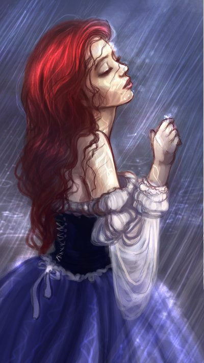 Up where they stay all day in the...rain. by *Elf-in-mirror on deviantART -- I want to make my ariel costume like this, with the off-the-shoulder peasant style, and not so crisp... more real :D