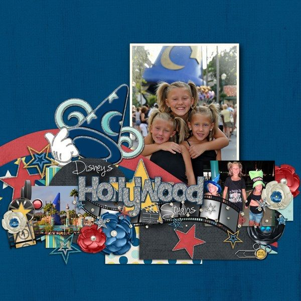 Disney Scrapbook Page Layout - Hollywood Studios by Kelly of Kellybell Designs