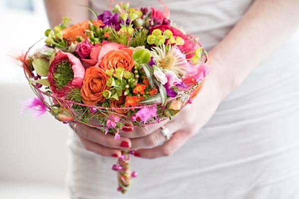 orange, fushia, purple and chartreuse whimsical bouquet, Françoise Weeks