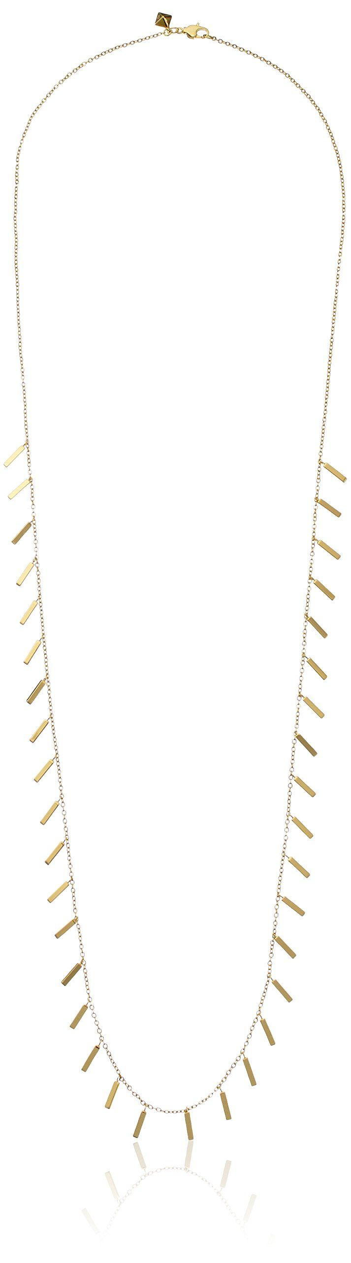 "Rebecca Minkoff ""Bar Essentials"" Gold Long Bar Fringe Strand Necklace, 32"". Plated brass necklace with fringe bar tassels at center and sides. 32"" cable chain with lobster-claw clasp. Imported."