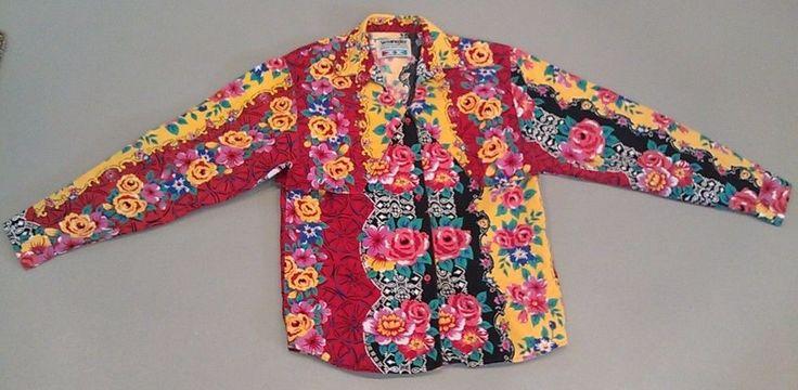 RARE VTG Wrangler Floral Aztec Southwestern Western Cowgirl Shirt Womens M  #Wrangler #Western #Casual