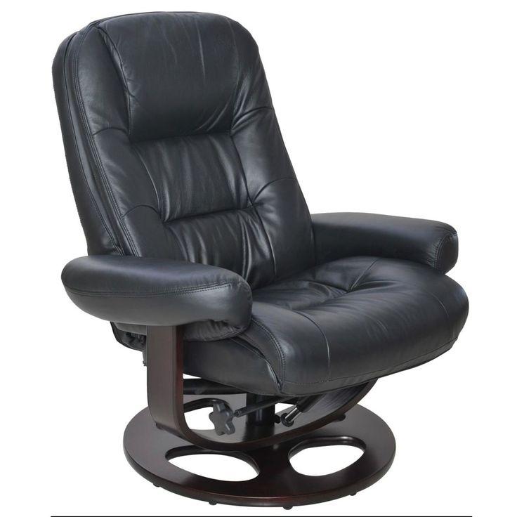 Barcalounger Jacque II Black Pedestal Recliner (Hilton Black) (Leather)