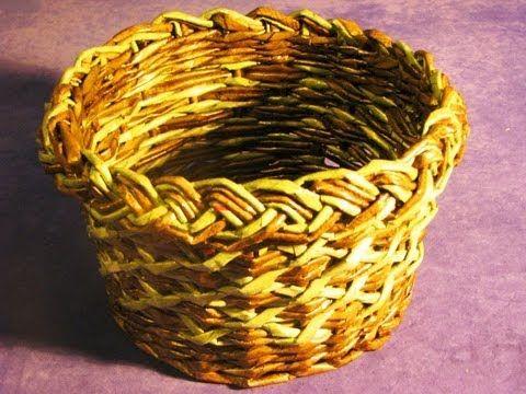 ▶ ▬►Плетение загибки. Часть 7. Promo / Basket weaving from newspapers - YouTube