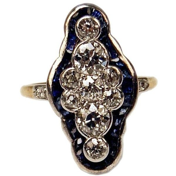 Preowned 1920s Art Deco Austrian Diamond Sapphire Gold Dinner Ring ($4,900) ❤ liked on Polyvore featuring jewelry, rings, blue, cluster rings, gold sapphire ring, blue diamond rings, sapphire rings, gold rings and gold diamond rings