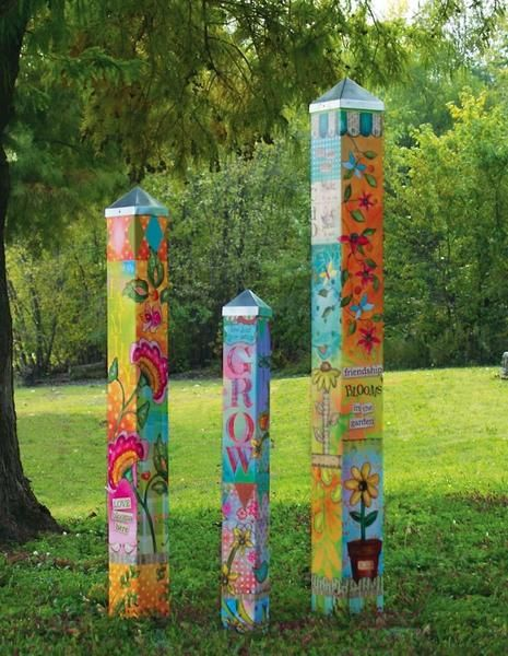 Wonderful set of 3 garden art poles convey that your nest is truly blessed! 3, 4, and 5 ft. coordinating vinyl poles feature original art by Lisa Kaus that's been reproduced with an innovative process