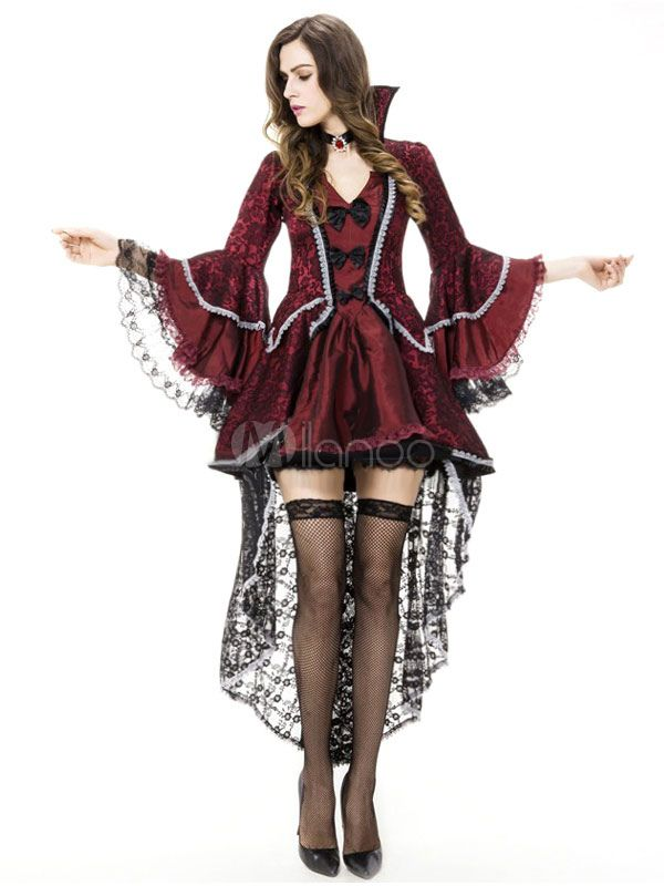Gothic Vampire Witch Red /& Black Floor Length Robe Adult Halloween Costume