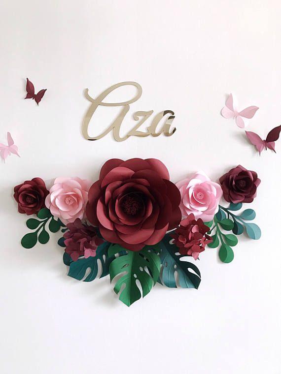 Conjunto de 7 flores de papel para decoración de pared de