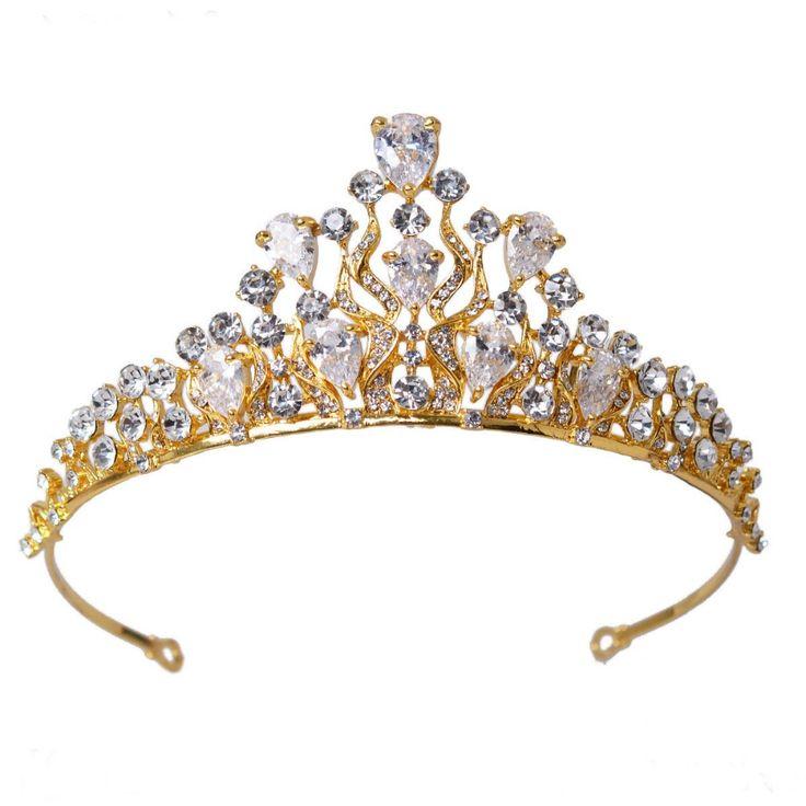 Vista de luxo de casamento do ouro coroa liga Tiara de noiva barroco rainha rei coroa 18 K banhado a ouro strass Tiara Crown