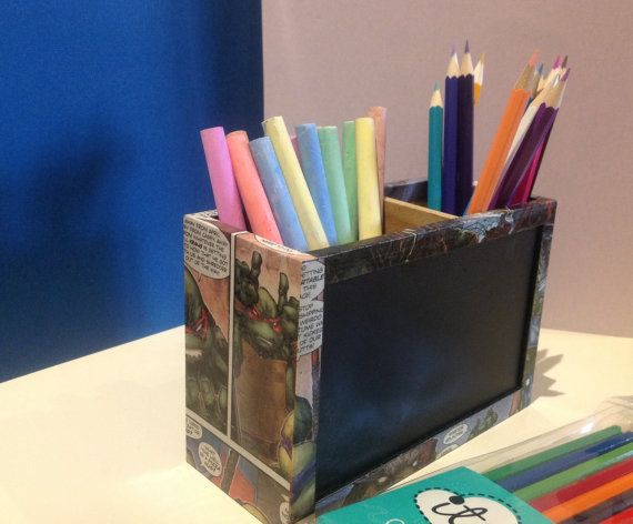 SALE 20% OFF  Comic Chalk Board Pencil Holder by ComicKamikaze