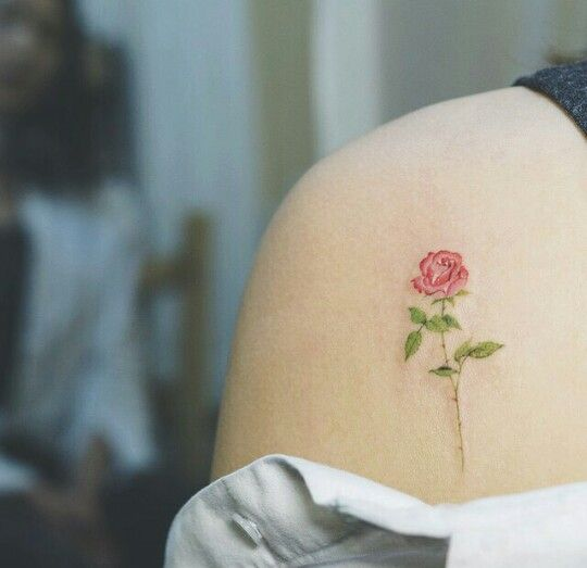 dainty rose tattoo