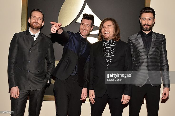 Musicians Will Farquarson, Dan Smith, Chris Wood and Kyle Simmons of Bastille attend The 57th Annual GRAMMY Awards at the STAPLES Center on February 8, 2015 in Los Angeles, California.