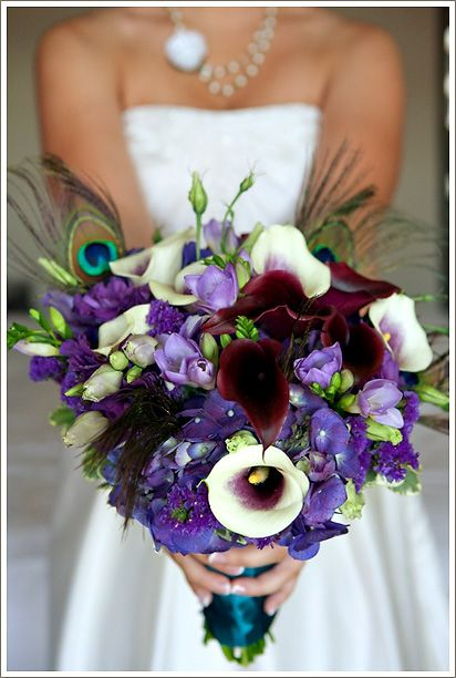I love how this bouquet mixes the purple flowers, the blue ribbion, and the peacock feathers. :): Peacock Feathers, Ideas, Blue, Purple Flowers, Bouquets, Weddingflow Colour, Kittelberg Florists, Blog, Marriage
