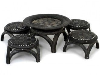 Things for the garden - recycled tire furniture from http://hautenature.com/recycled-tire-furniture/