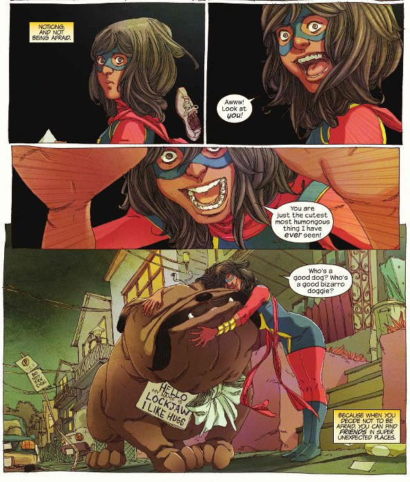 Ms. Marvel meets Lockjaw - I love how Kamala is un-phased by anything!