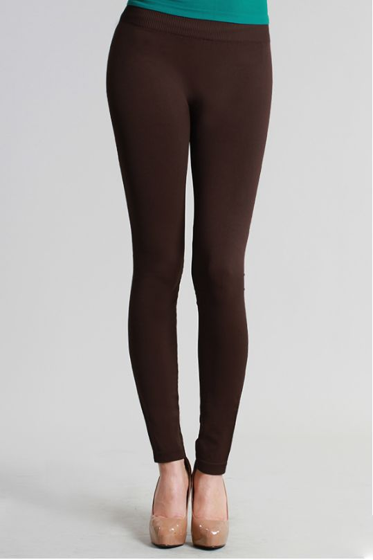 - Must have light dark chocolate toned leggings - Thick jersey material that is non sheer with stretching - Knitted with elastic waistbands for a secure hold and a comfortable fit - One size fits most