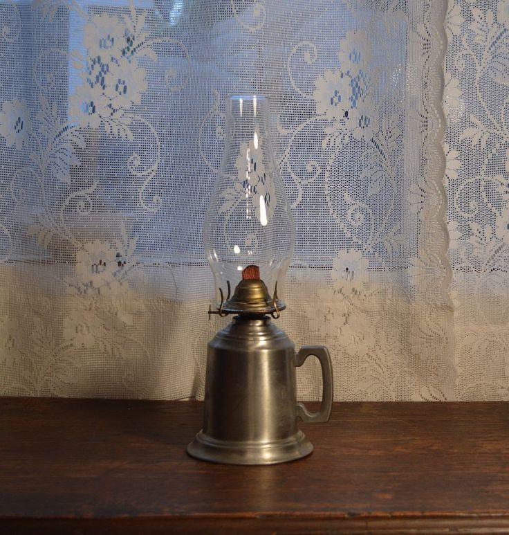 Vintage Shuler quality pewter oil lamp kerosene lamp primitive lighting by MaAndPasAttic on Etsy