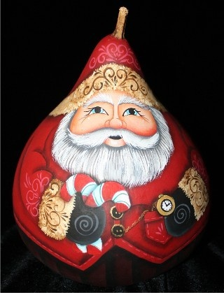 Hand Painted Martin Gourd Santa by Lorrie Mandigo Christmas   eBay