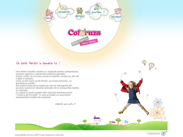Web design for coloruza.ro - mural services for children.