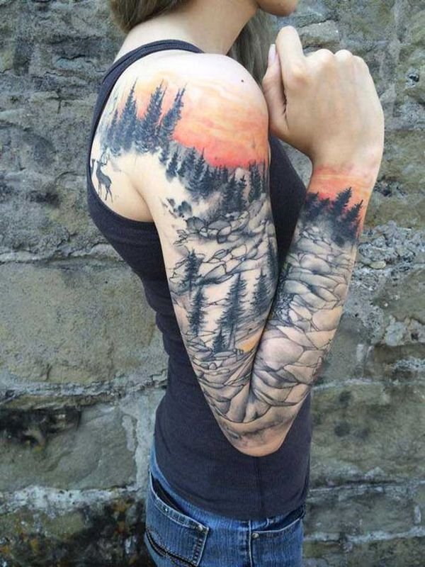 A full sleeve tattoo with a little extending to the back which shows life and the view in a mountain. It looks peaceful even when it's rocky and the forest means resilience in every hardship. Deer are also deemed as symbols of wisdom.