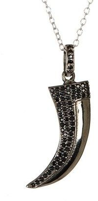 ADORNIA Black Spinel And Sterling Silver Mini Horn Necklace.