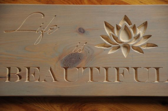 Life is beautiful  Wood Sign  CNC Machine  Wedding Gift  by OYKNOT