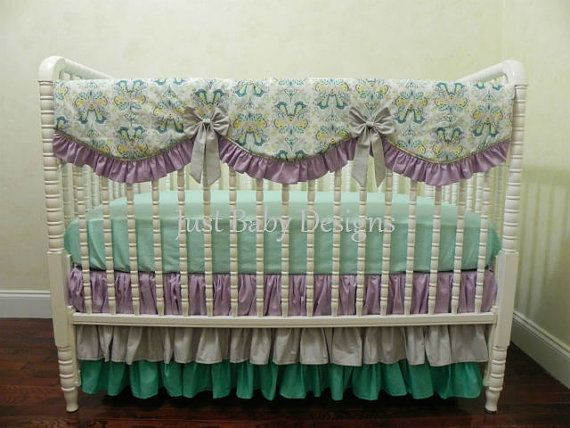 Baby Girl Crib Bedding Set Lavender and Teal by BabyBeddingbyJBD