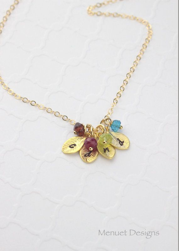 Dainty Birthstone Necklace, Custom Initials, Monogram Jewelry, Gifts Under 20, Sisters-Friends-Mother, *U.S. Orders Ship via USPS