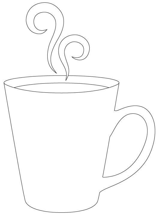 'Hot cup of coffee' pattern with lots of room for added decoration.