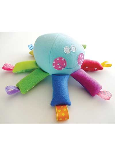 Octopus Softie With Ribbons Sewing Pattern Download from e-PatternsCentral.com -- This octopus toy is soft and sweet!