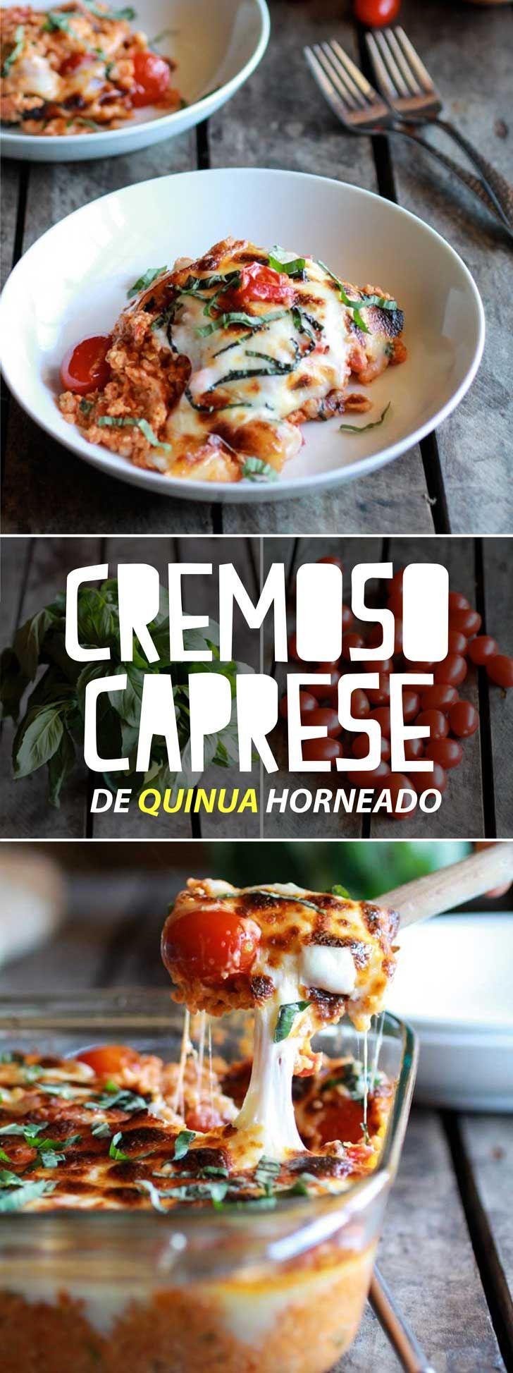 cremoso-caprese de quinoa: 2 tazas de quinua cocinada 1 taza de tu salsa de pasta favorita 2 cucharadas de pasta de tomate 1/3 taza de crema espesa 1/3 taza de queso parmesano 1 taza de mozzarella 1/2 taza de tomates uva, cortados por la mitad 1 ramo grande de albahaca fresca, cortada en tiras 1/2 cucharadita de pimienta roja triturada 1/4 cucharadita de sal 1/4 cucharadita de pimienta