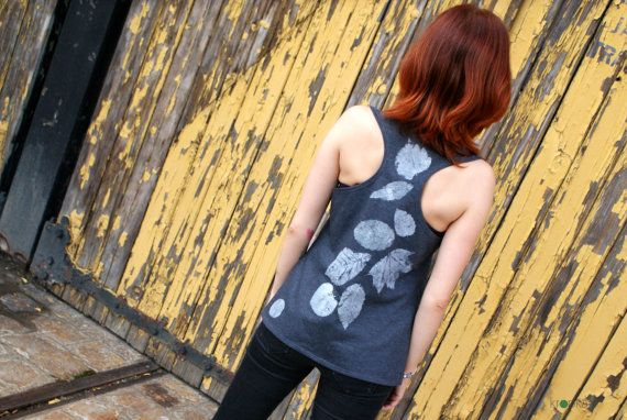 Women tank top Grey top Top with leaves Foliage by KropkaDesign