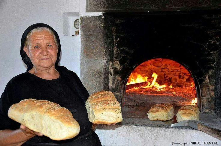 Homemade Greek bread made in wood fire. Yum!