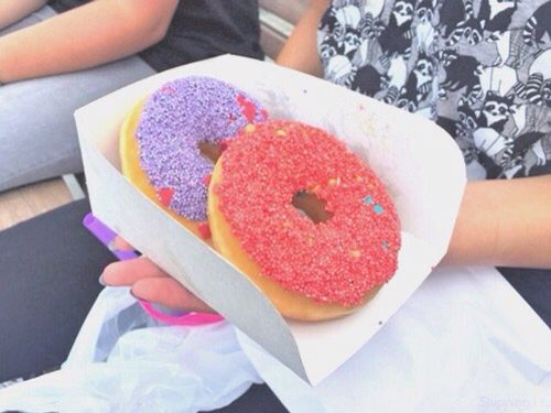 Neon sprinkled Duncan donuts