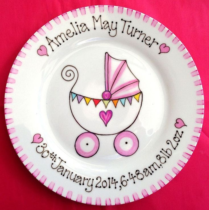 Hand painted new baby gift plate with cute pram design. Personalised with name and birth details or your own wording for any event.