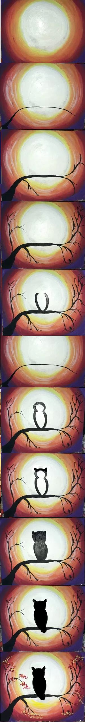 Step by step painting. How to paint a tree owl silhouette with full moon.