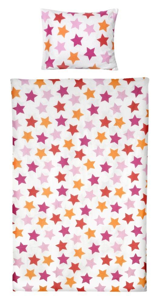 Dekbedset Sterre: kleurrijk beddengoed met sterren, in roze en groen verkrijgbaar #kidsroom