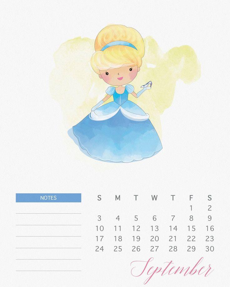 Calendario 2017 de las Princesas Disney para Imprimir Gratis.   Ideas y material gratis para fiestas y celebraciones Oh My Fiesta!