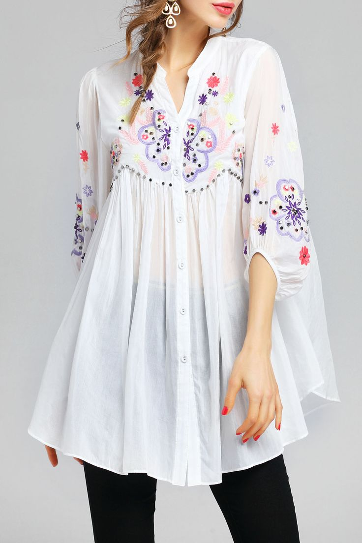 Embroidery Beaded Blouse