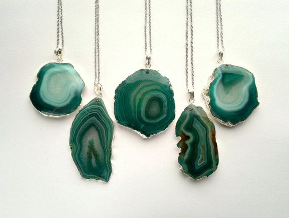 Green Agate Slice Necklace Green Agate Pendant by SinusFinnicus