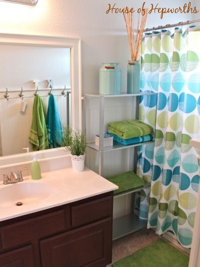 kids' teal and grass green bathroom makeover