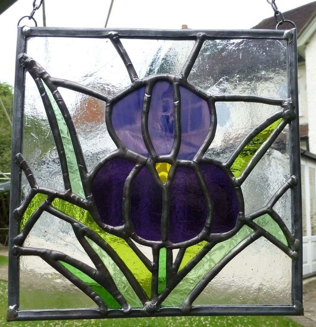 Stained Glass Purple Iris Flower Panel SOLD £37.50
