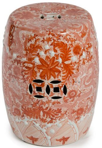 The Orange Porcelain Garden Stool by Legends of Asia with a Floral and Dragon Motif is a chic twist on traditional Asian pottery. Perfect as a side table, ottoman or stool for indoor or outdoor use. FREE SHIPPING. $240
